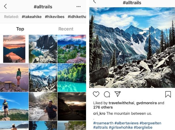 Screenshots: How to research Insta hashtags in your niche