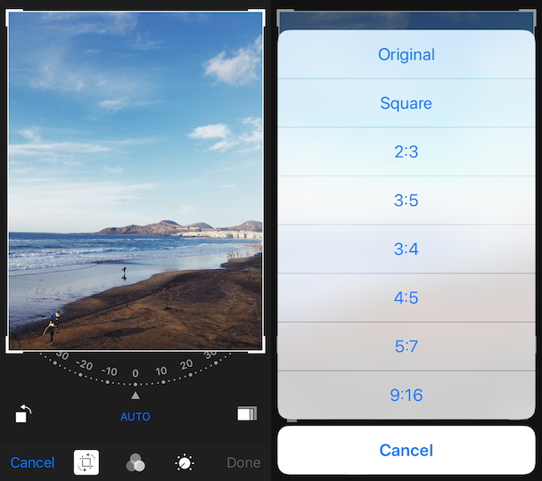 How to resize a picture for Instagram using iPhone Photos