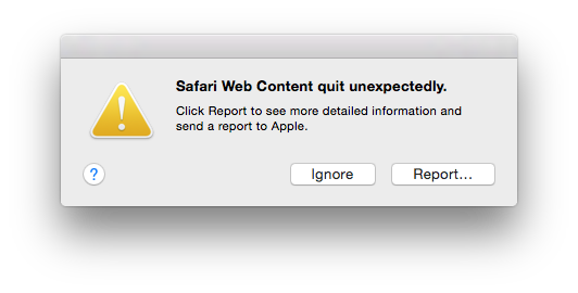 Safari error message