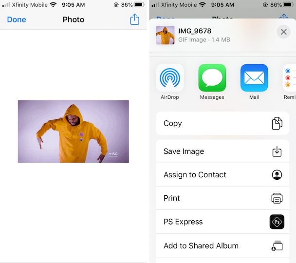 Screenshots: How to download a GIF from Mail or Messages