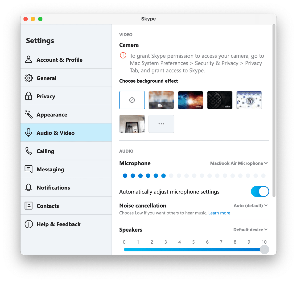 Skype settings