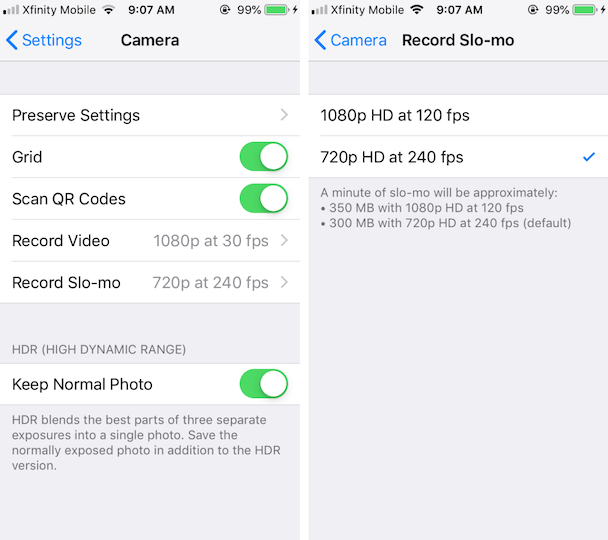 Screenshots: Slow motion settings on iPhone