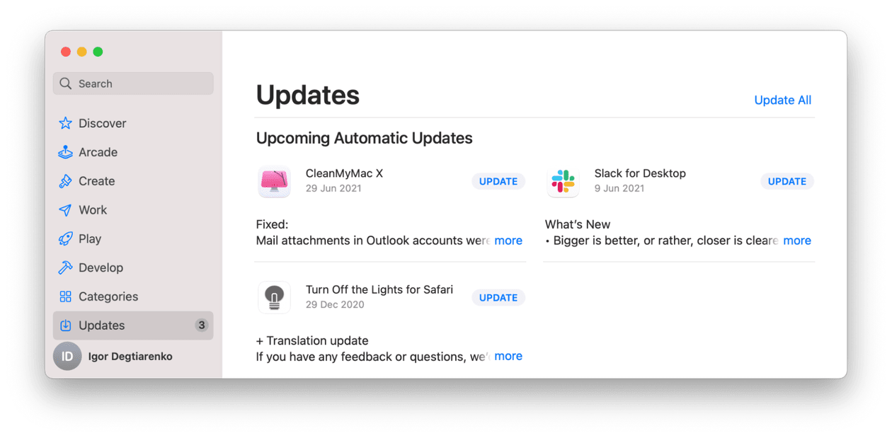 How to check for app updates