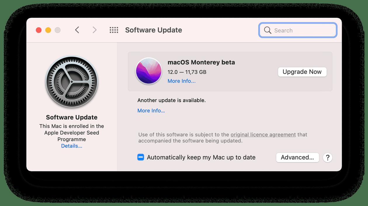 macOS update window