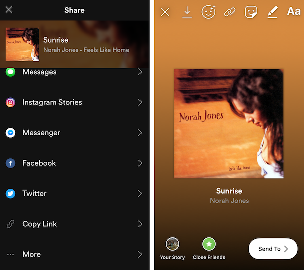 Screenshots: How to post a song from Spotify on Instagram