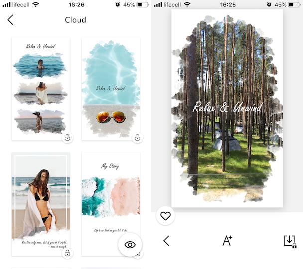 Cloud templates for Instagram Stories in StoryArt