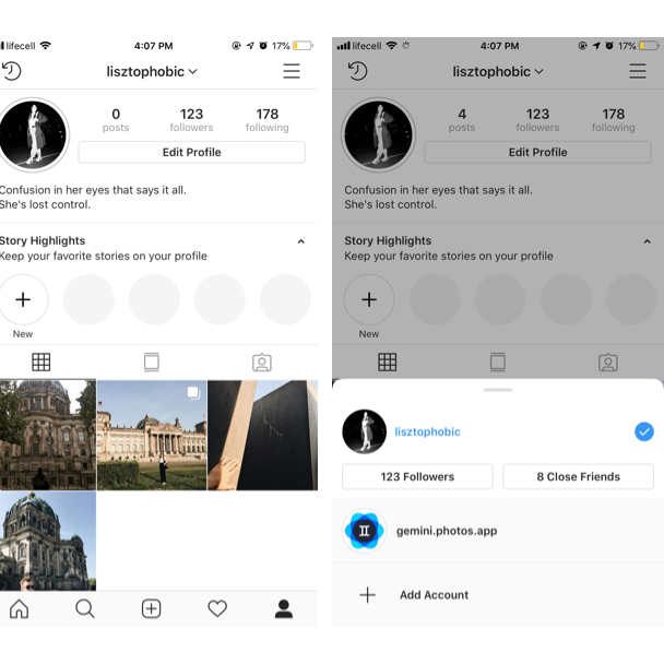 How to switch between multiple Instagram accounts