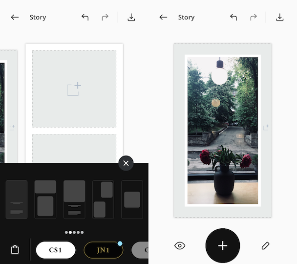 CS1 Instagram Story templates in Unfold