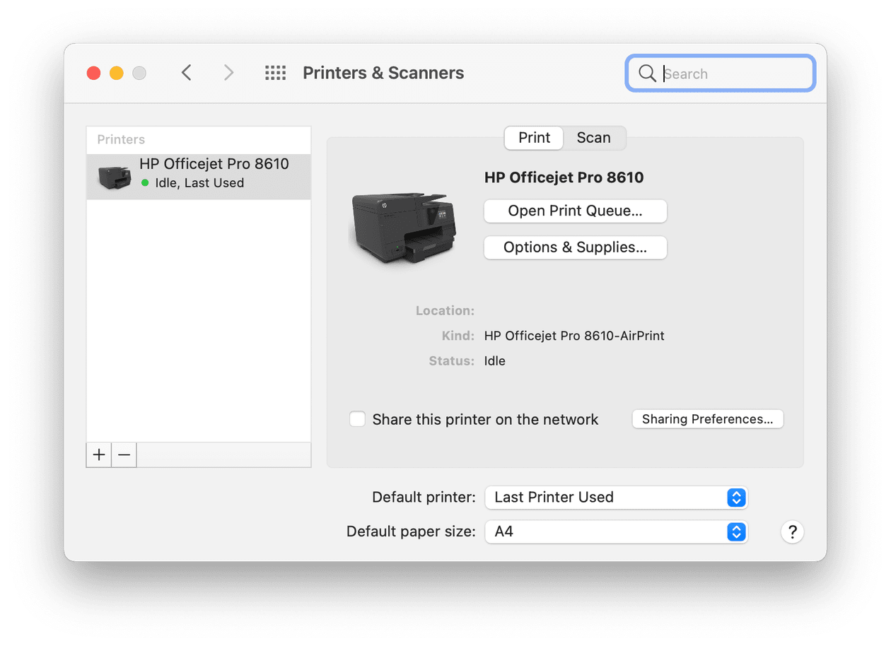 Printers and scanners tab on macOS