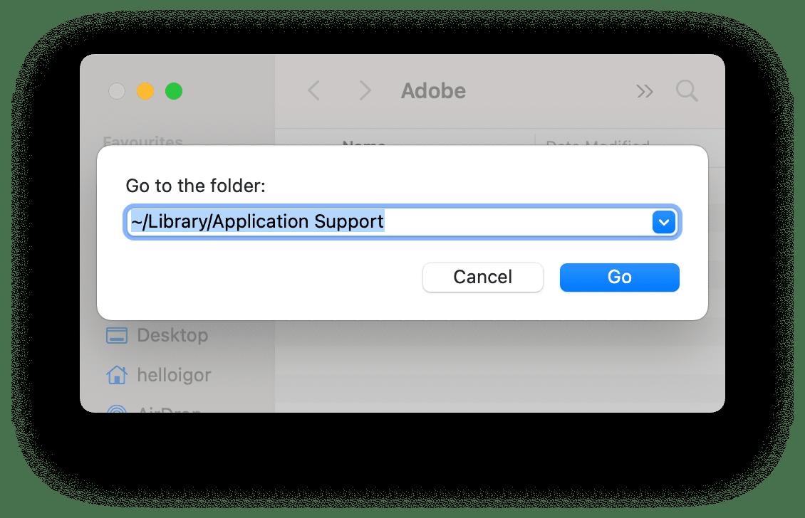 Go to folder window