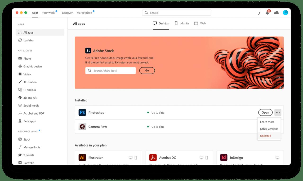Adobe Creative Cloud screenshot