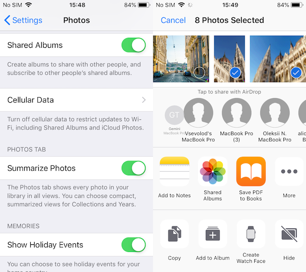 How to put specific iPhone photos in iCloud