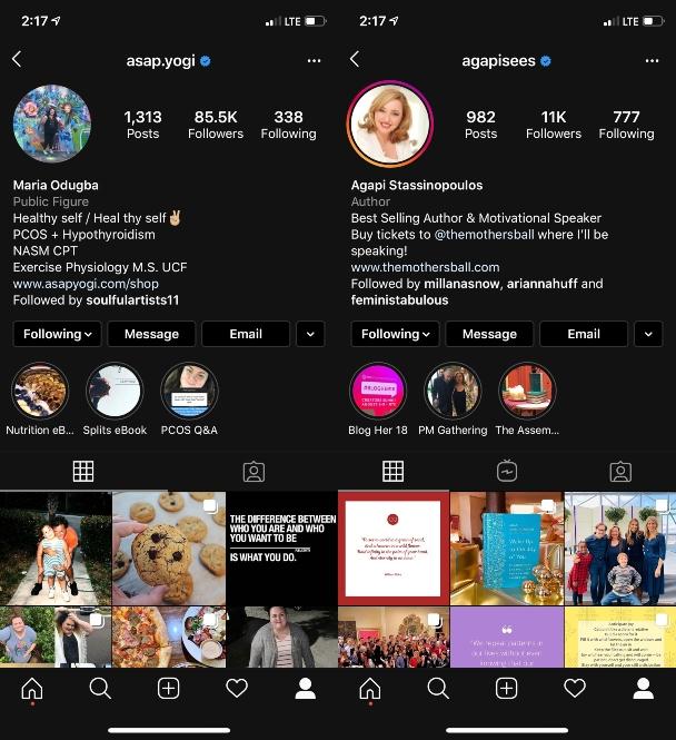 How verified Instagram accounts look