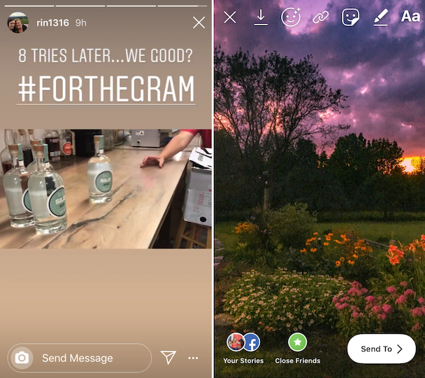 Screenshots: Instagram video Stories with different aspect ratios
