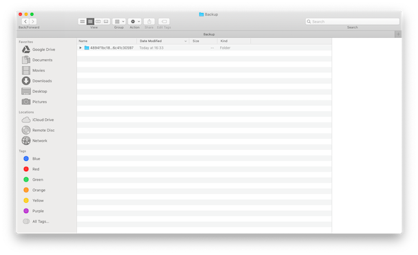 Where iTunes stores iPhone backups on Mac