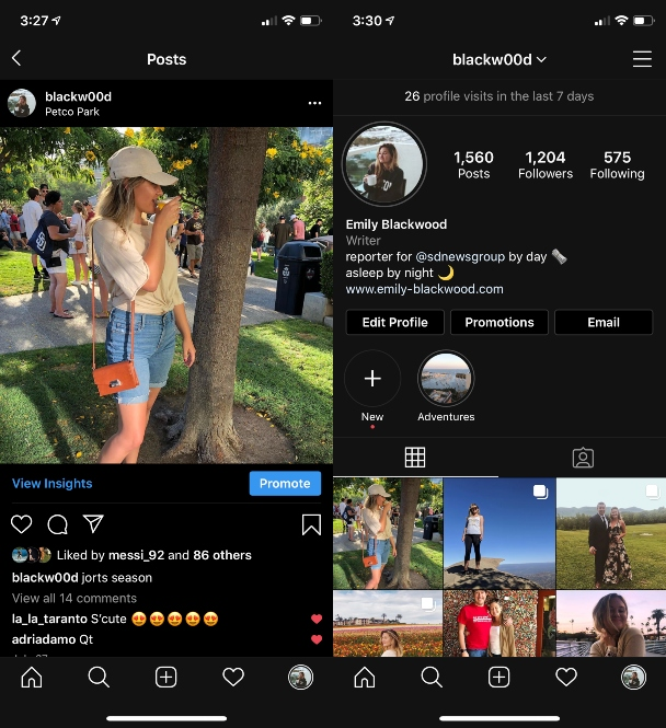 Examples of an Instagram name and username