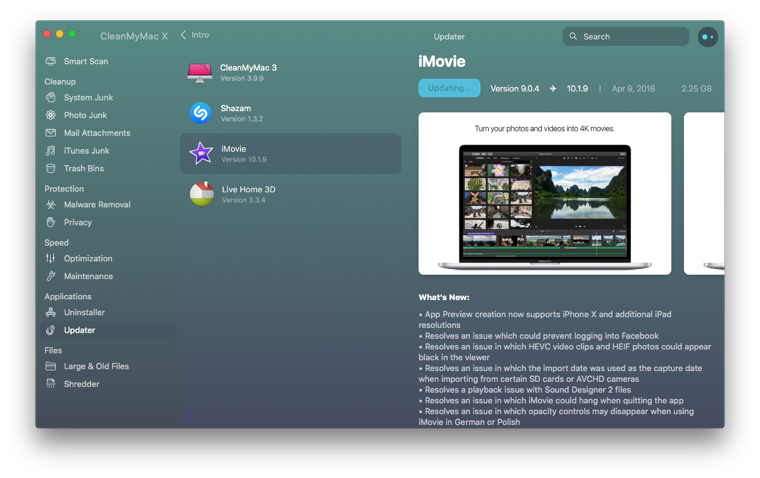 Complete Mac update in seconds |Try Updater in CleanMyMac X